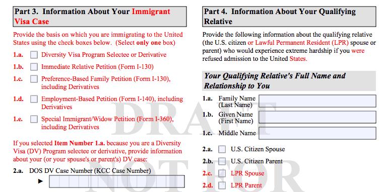 Borrador formulario I-601A