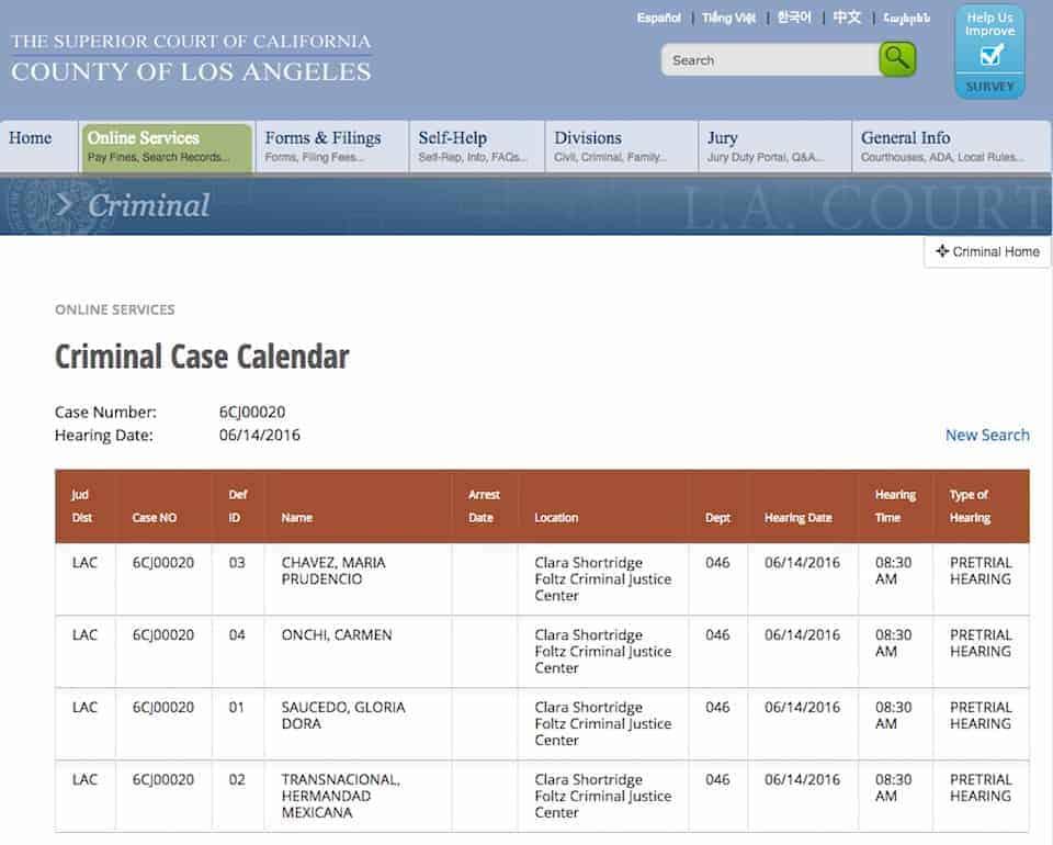 Calendario criminal HMT Gloria Saucedo