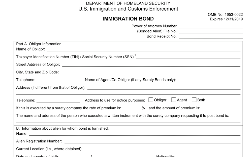 ICE Form I-352 Immigration Bond