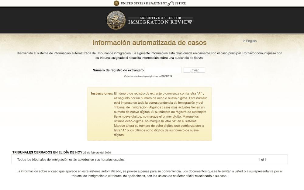 Crean nueva página web para verificar casos en cortes de inmigración