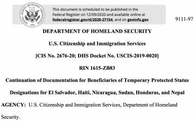 DHS extiende los permisos de trabajo para hondureños, nicaragüenses y salvadoreños en TPS