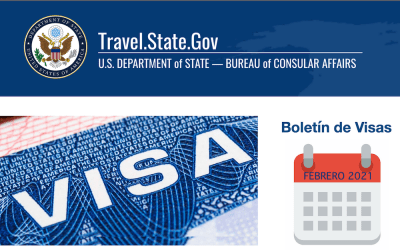 USDOS publica Boletín de Visas febrero 2021