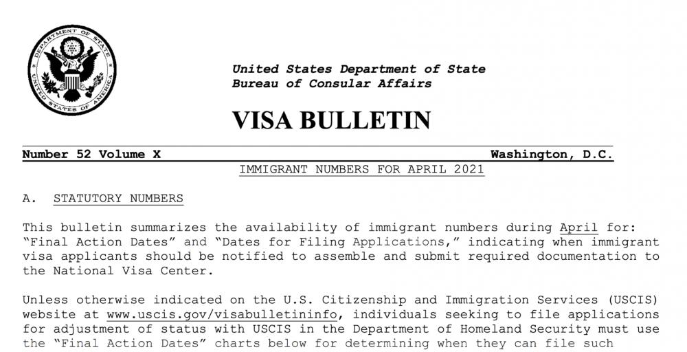 USDOS publica Boletín de Visas abril 2021