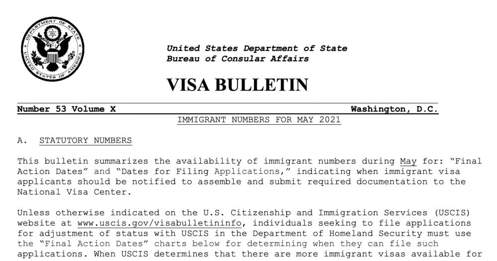 USDOS publica Boletín de Visas mayo 2021